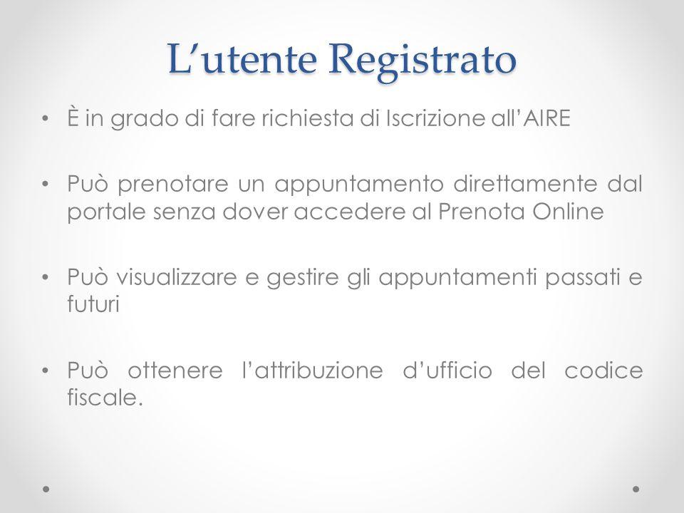 Lutente Registrato È in grado di fare richiesta di Iscrizione allAIRE Può prenotare un appuntamento direttamente dal portale senza dover accedere al P