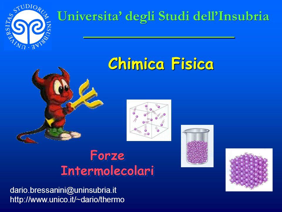 Chimica Fisica dario.bressanini@uninsubria.it http://www.unico.it/~dario/thermo Forze Intermolecolari Universita degli Studi dellInsubria