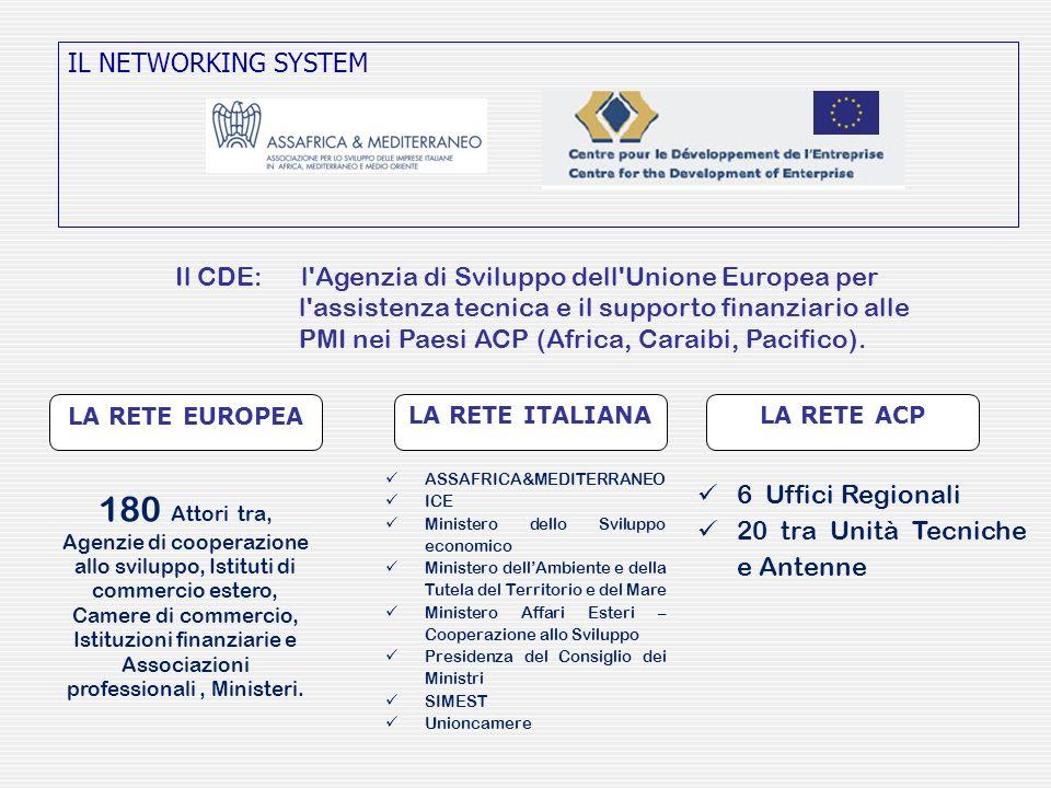IL NETWORKING SYSTEM Il CDE: l'Agenzia di Sviluppo dell'Unione Europea per l'assistenza tecnica e il supporto finanziario alle PMI nei Paesi ACP (Afri
