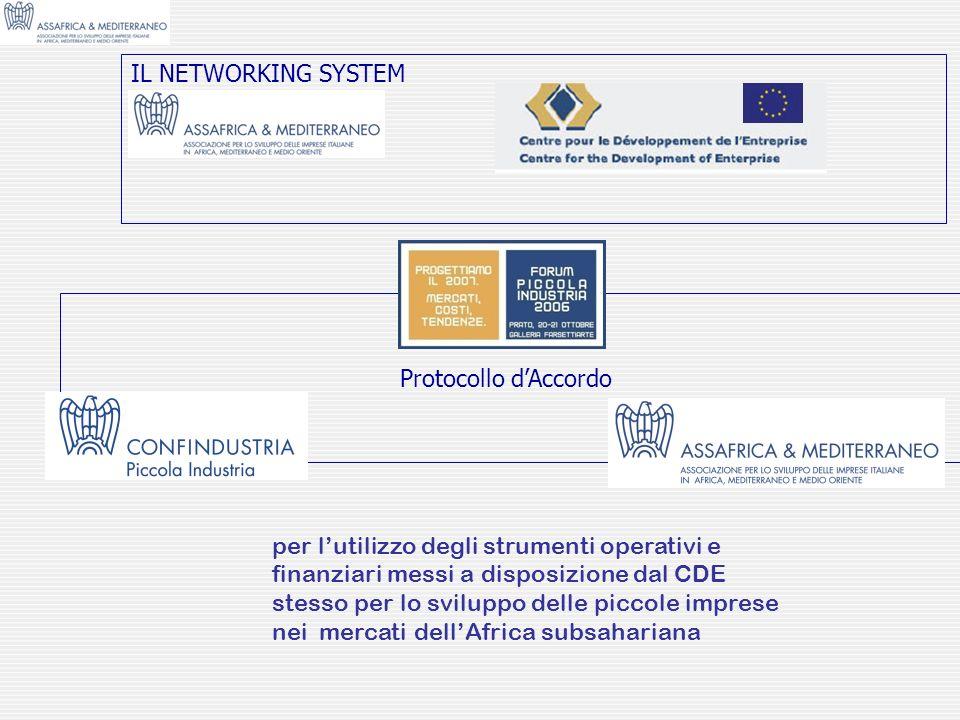IL NETWORKING SYSTEM per lutilizzo degli strumenti operativi e finanziari messi a disposizione dal CDE stesso per lo sviluppo delle piccole imprese ne