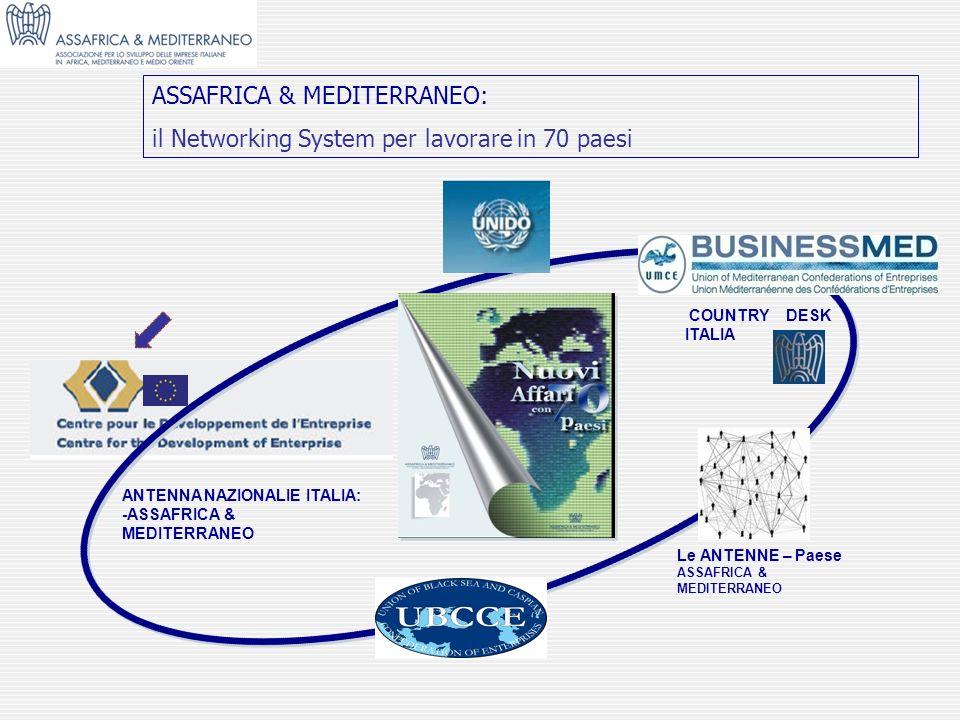 ASSAFRICA & MEDITERRANEO: il Networking System per lavorare in 70 paesi COUNTRY DESK ITALIA ANTENNA NAZIONALIE ITALIA: -ASSAFRICA & MEDITERRANEO Le AN