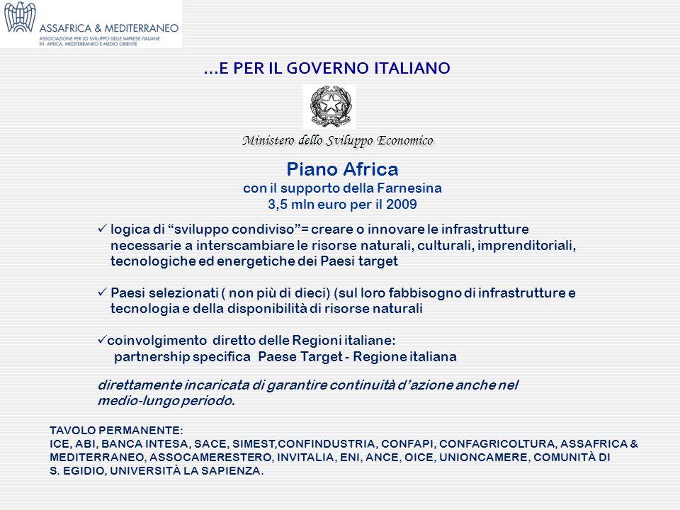 Ministero dello Sviluppo Economico …E PER IL GOVERNO ITALIANO Piano Africa con il supporto della Farnesina 3,5 mln euro per il 2009 logica di sviluppo