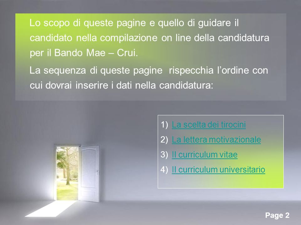 Page 2 Lo scopo di queste pagine e quello di guidare il candidato nella compilazione on line della candidatura per il Bando Mae – Crui.