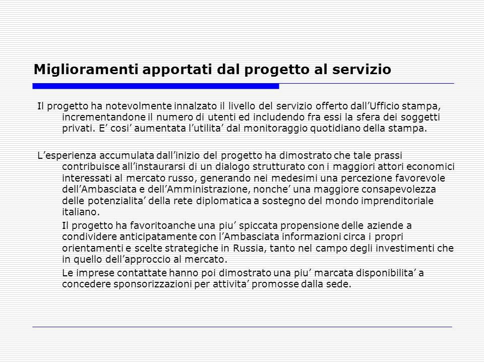 Miglioramenti apportati dal progetto al servizio Il progetto ha notevolmente innalzato il livello del servizio offerto dallUfficio stampa, incrementandone il numero di utenti ed includendo fra essi la sfera dei soggetti privati.
