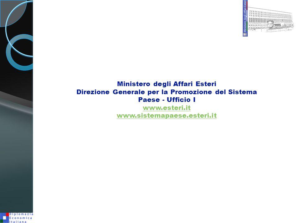 Ministero degli Affari Esteri Direzione Generale per la Promozione del Sistema Paese - Ufficio I www.esteri.it www.sistemapaese.esteri.it