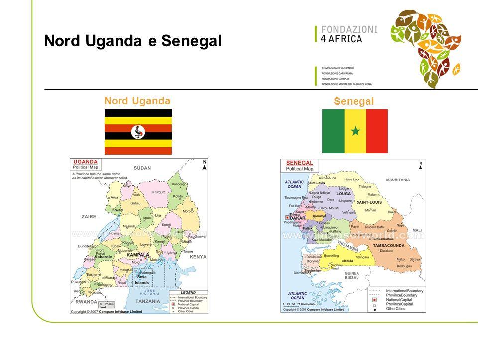 Lapproccio Le Fondazioni hanno deciso di fare sistema nel campo della cooperazione internazionale e di sperimentare una nuova modalità dintervento congiunto Le Fondazioni sono impegnate non solo nella erogazione delle risorse necessarie ma partecipano attivamente alla progettazione e nel coordinamento delle due iniziative Gli interventi sono implementati in Senegal ed in Nord Uganda dalle principali ONG italiane (per il Senegal: ACRA, CESPI, CISV, COOPI, COSPE) con forte esperienza nelle due aree.