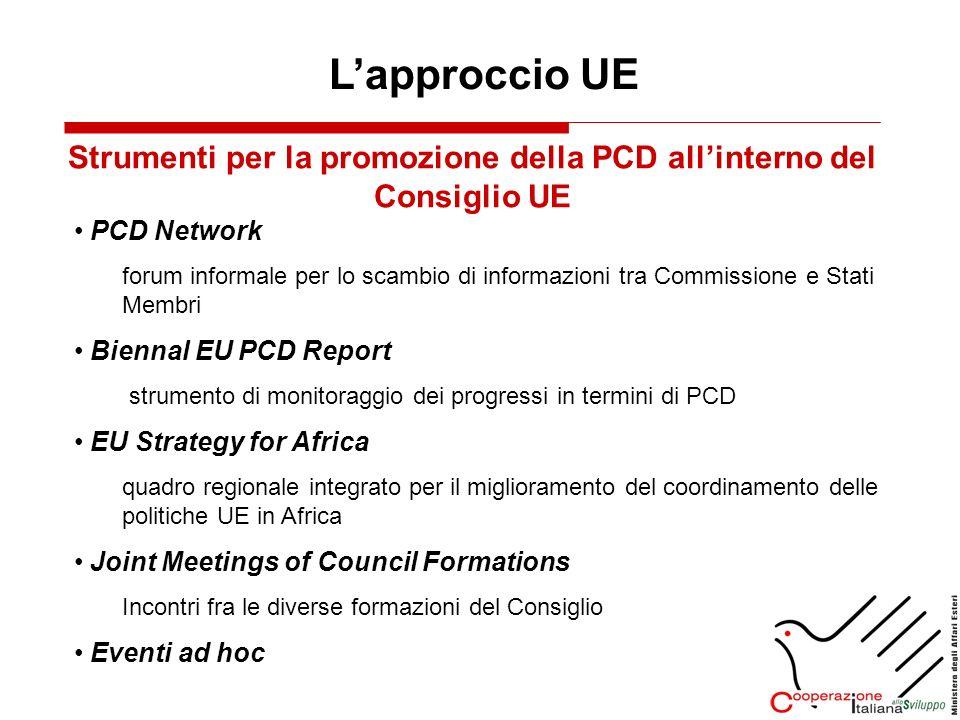Lapproccio UE Strumenti per la promozione della PCD allinterno del Consiglio UE PCD Network forum informale per lo scambio di informazioni tra Commiss