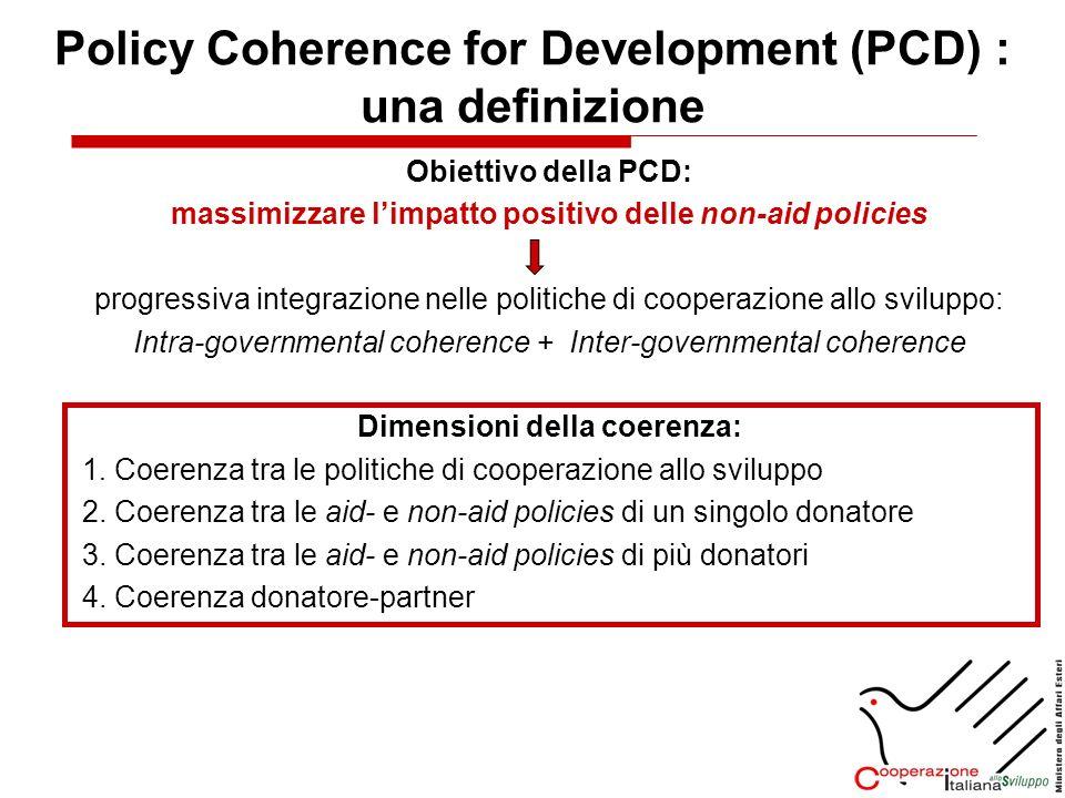 Obiettivo della PCD: massimizzare limpatto positivo delle non-aid policies progressiva integrazione nelle politiche di cooperazione allo sviluppo: Int