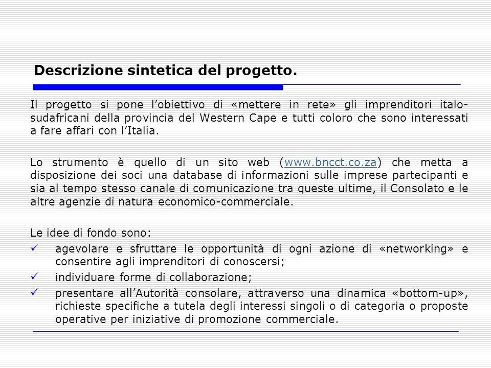 Descrizione sintetica del progetto. Il progetto si pone lobiettivo di «mettere in rete» gli imprenditori italo- sudafricani della provincia del Wester