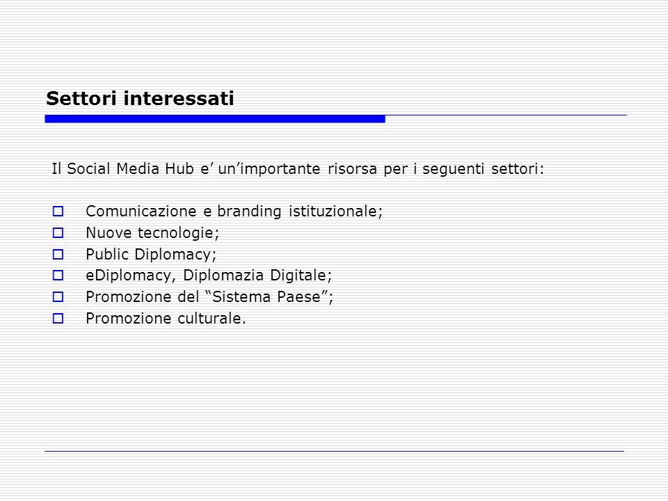 Settori interessati Il Social Media Hub e unimportante risorsa per i seguenti settori: Comunicazione e branding istituzionale; Nuove tecnologie; Public Diplomacy; eDiplomacy, Diplomazia Digitale; Promozione del Sistema Paese; Promozione culturale.
