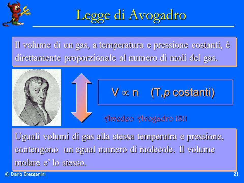 © Dario Bressanini 21 Legge di Avogadro Il volume di un gas, a temperatura e pressione costanti, è direttamente proporzionale al numero di moli del ga
