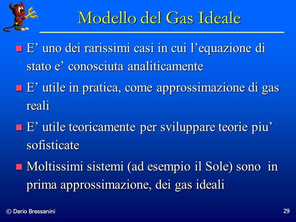 © Dario Bressanini 29 E uno dei rarissimi casi in cui lequazione di stato e conosciuta analiticamente E uno dei rarissimi casi in cui lequazione di st