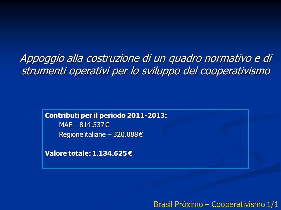 Appoggio alla costruzione di un quadro normativo e di strumenti operativi per lo sviluppo del cooperativismo Contributi per il periodo 2011-2013: MAE – 814.537 MAE – 814.537 Regione italiane – 320.088 Regione italiane – 320.088 Valore totale: 1.134.625 Valore totale: 1.134.625 Brasil Próximo – Cooperativismo 1/1