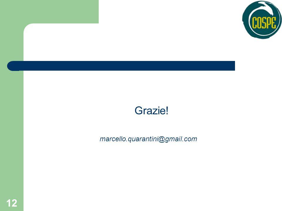 12 Grazie! marcello.quarantini@gmail.com
