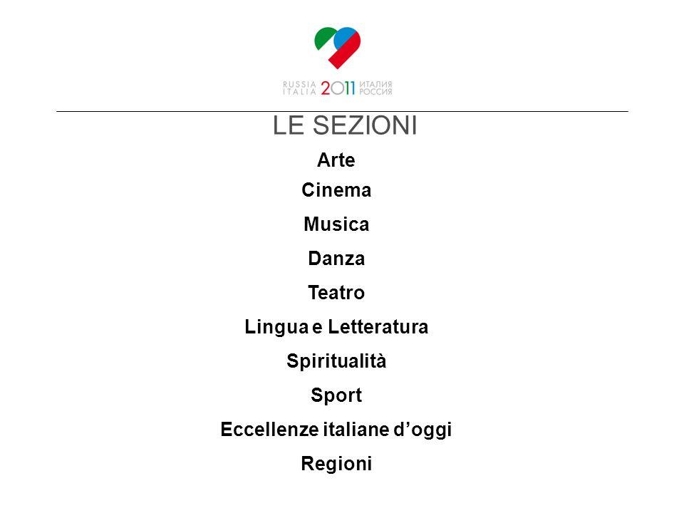 LE SEZIONI Arte Cinema Musica Danza Teatro Lingua e Letteratura Spiritualità Sport Eccellenze italiane doggi Regioni