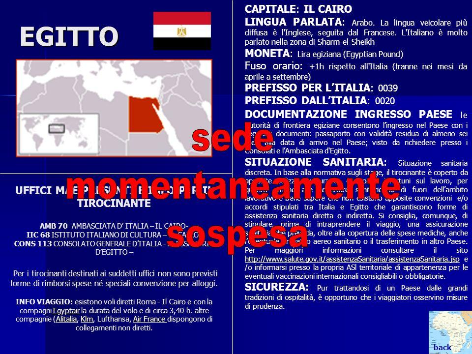 EGITTO UFFICI MAE PRESENTI E INFO PER IL TIROCINANTE AMB 70 AMBASCIATA D ITALIA – IL CAIRO- IIC 68 ISTITUTO ITALIANO DI CULTURA – IL CAIRO- CONS 113 C