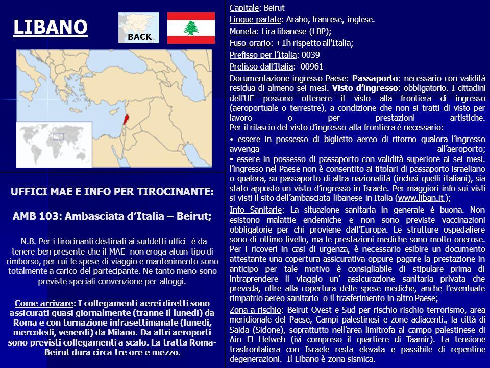 UFFICI MAE E INFO PER TIROCINANTE: AMB 103: Ambasciata dItalia – Beirut; N.B. Per i tirocinanti destinati ai suddetti uffici è da tenere ben presente