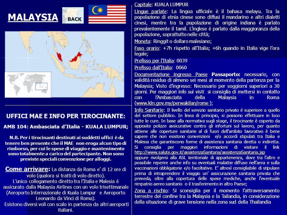 UFFICI MAE E INFO PER TIROCINANTE: AMB 104: Ambasciata dItalia - KUALA LUMPUR; N.B. Per i tirocinanti destinati ai suddetti uffici è da tenere ben pre