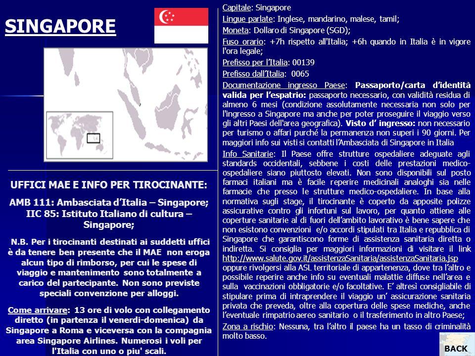 UFFICI MAE E INFO PER TIROCINANTE: AMB 111: Ambasciata dItalia – Singapore; IIC 85: Istituto Italiano di cultura – Singapore; N.B. Per i tirocinanti d