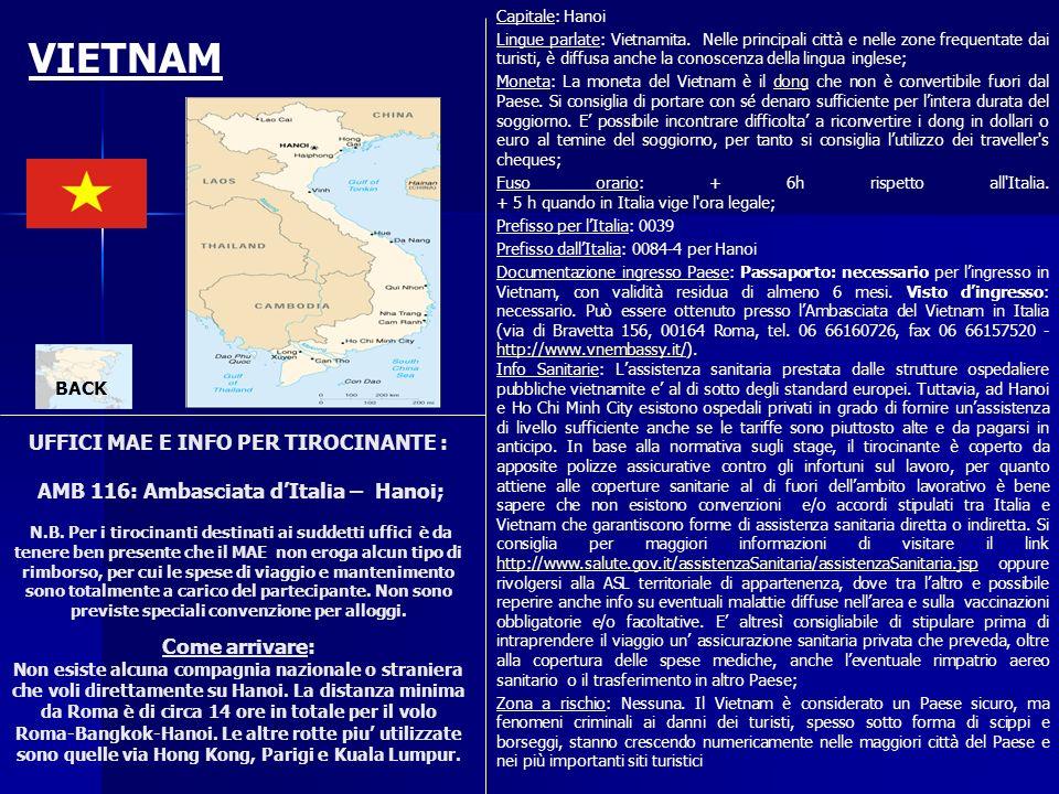 UFFICI MAE E INFO PER TIROCINANTE : AMB 116: Ambasciata dItalia – Hanoi; N.B. Per i tirocinanti destinati ai suddetti uffici è da tenere ben presente