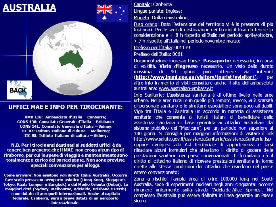 UFFICI MAE E INFO PER TIROCINANTE: AMB 118: Ambasciata dItalia – Canberra; CONS 138: Consolato Generale dItalia – Brisbane; CONS 141: Consolato Genera