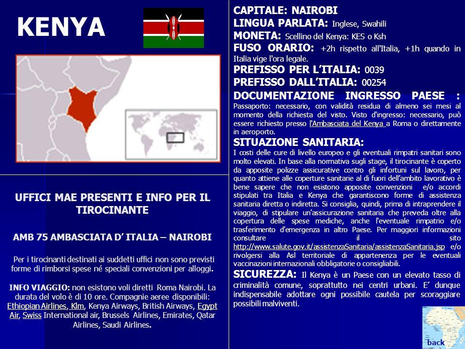 UFFICI MAE PRESENTI E INFO PER IL TIROCINANTE AMB 75 AMBASCIATA D ITALIA – NAIROBI Per i tirocinanti destinati ai suddetti uffici non sono previsti fo