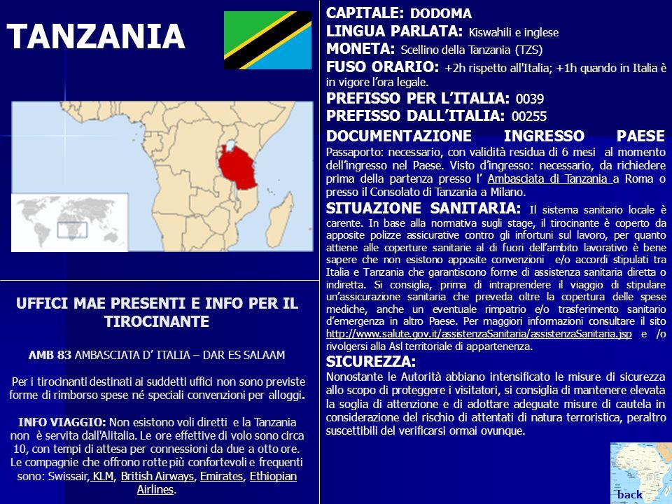 TANZANIA CAPITALE: DODOMA LINGUA PARLATA: Kiswahili e inglese MONETA: Scellino della Tanzania (TZS) FUSO ORARIO: +2h rispetto all'Italia; +1h quando i