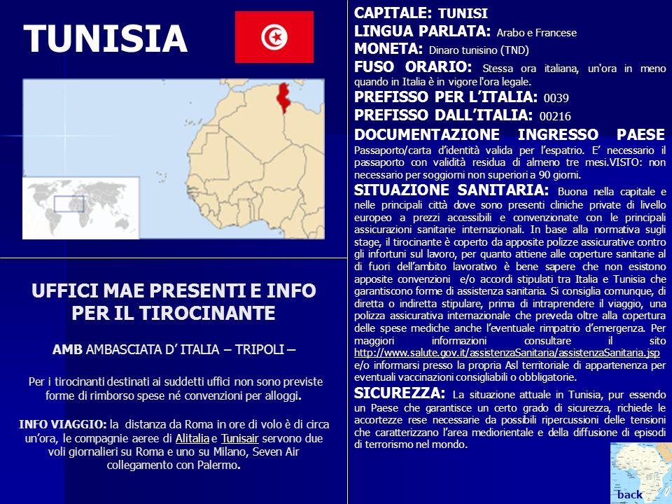 TUNISIA CAPITALE: TUNISI LINGUA PARLATA: Arabo e Francese MONETA: Dinaro tunisino (TND) FUSO ORARIO: Stessa ora italiana, un'ora in meno quando in Ita