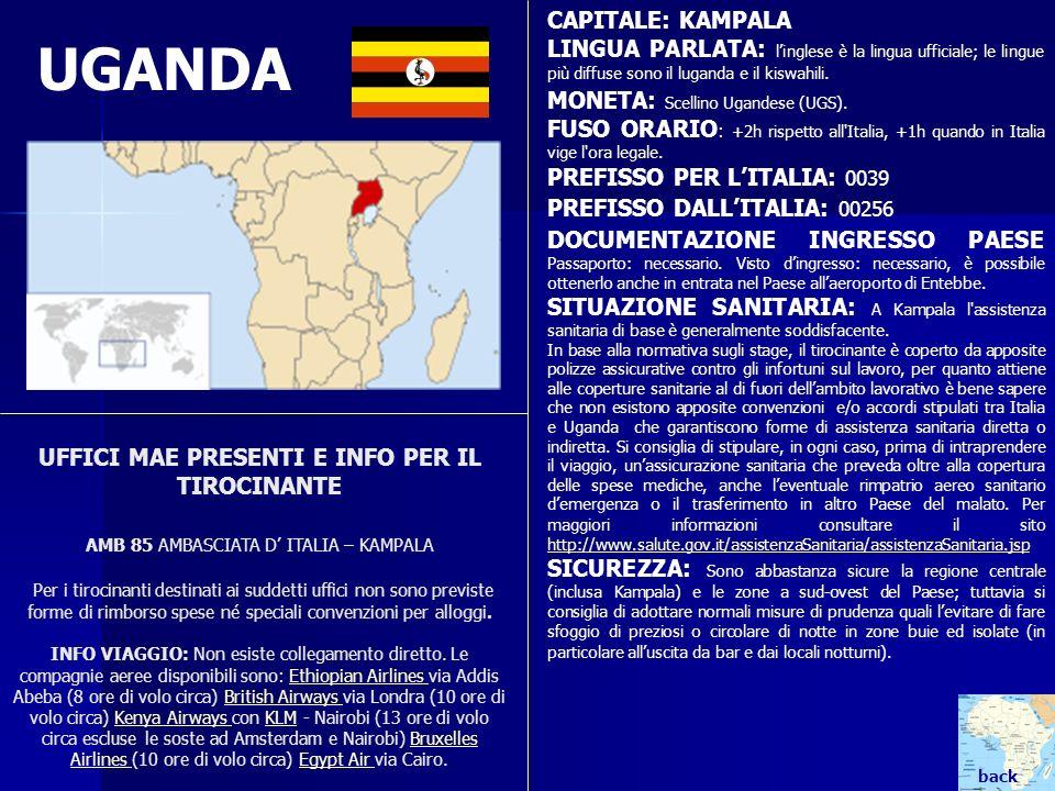 UGANDA CAPITALE: KAMPALA LINGUA PARLATA: linglese è la lingua ufficiale; le lingue più diffuse sono il luganda e il kiswahili. MONETA: Scellino Ugande