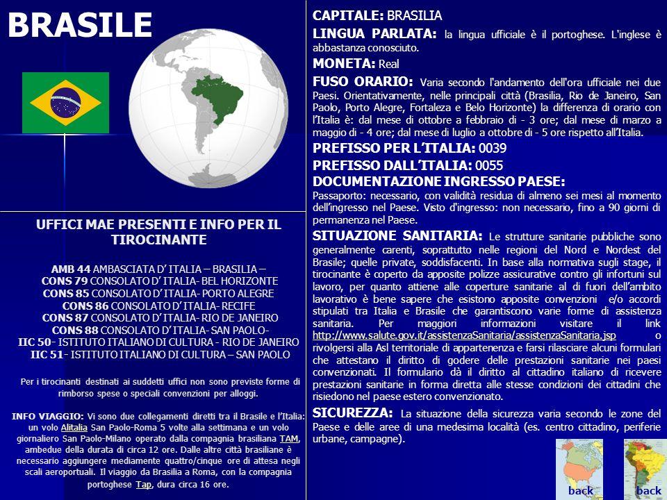 BRASILE. UFFICI MAE PRESENTI E INFO PER IL TIROCINANTE AMB 44 AMBASCIATA D ITALIA – BRASILIA – CONS 79 CONSOLATO D ITALIA- BEL HORIZONTE CONS 85 CONSO
