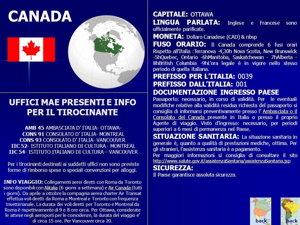 CANADA UFFICI MAE PRESENTI E INFO PER IL TIROCINANTE AMB 45 AMBASCIATA D ITALIA- OTTAWA- CONS 91 CONSOLATO D ITALIA- MONTREAL CONS 93 CONSOLATO D ITAL