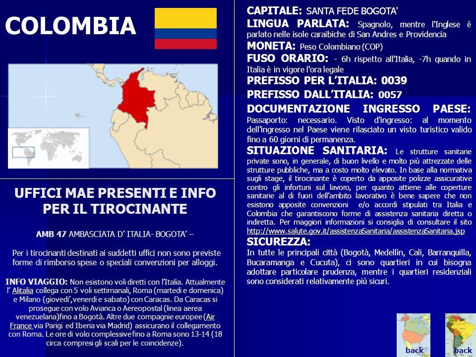 COLOMBIA UFFICI MAE PRESENTI E INFO PER IL TIROCINANTE AMB 47 AMBASCIATA D ITALIA- BOGOTA – Per i tirocinanti destinati ai suddetti uffici non sono pr