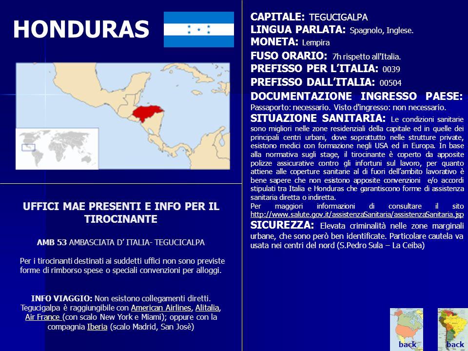 HONDURAS UFFICI MAE PRESENTI E INFO PER IL TIROCINANTE AMB 53 AMBASCIATA D ITALIA- TEGUCICALPA Per i tirocinanti destinati ai suddetti uffici non sono