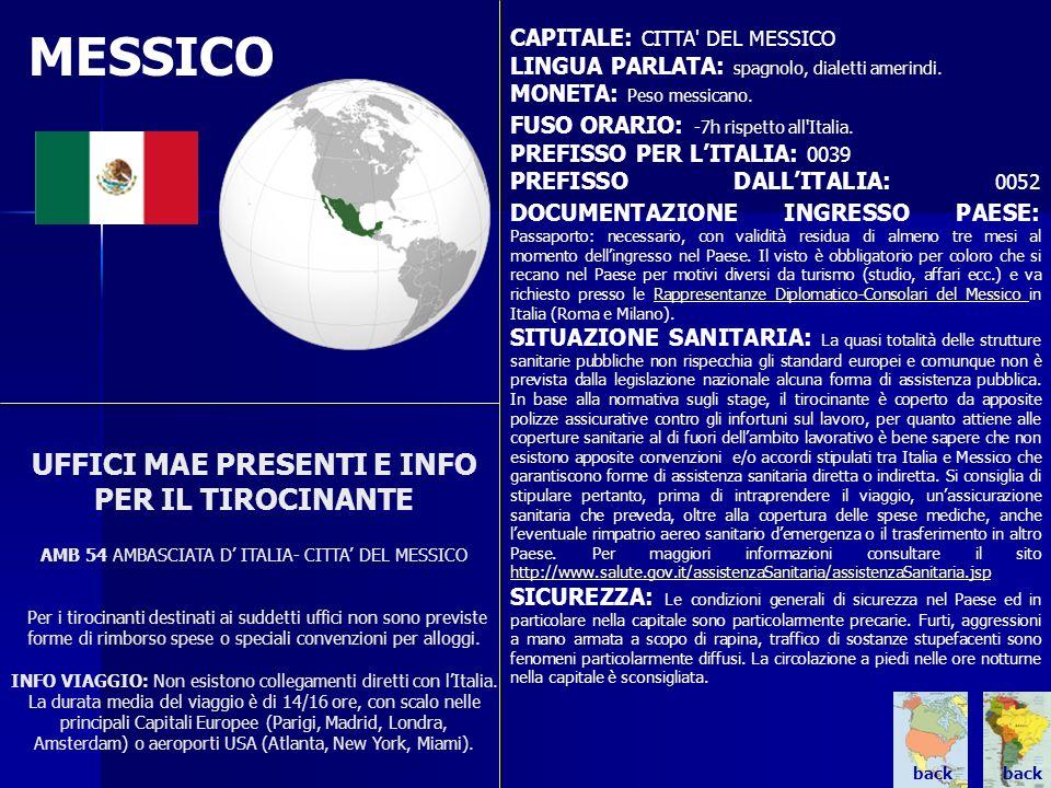 MESSICO UFFICI MAE PRESENTI E INFO PER IL TIROCINANTE AMB 54 AMBASCIATA D ITALIA- CITTA DEL MESSICO Per i tirocinanti destinati ai suddetti uffici non