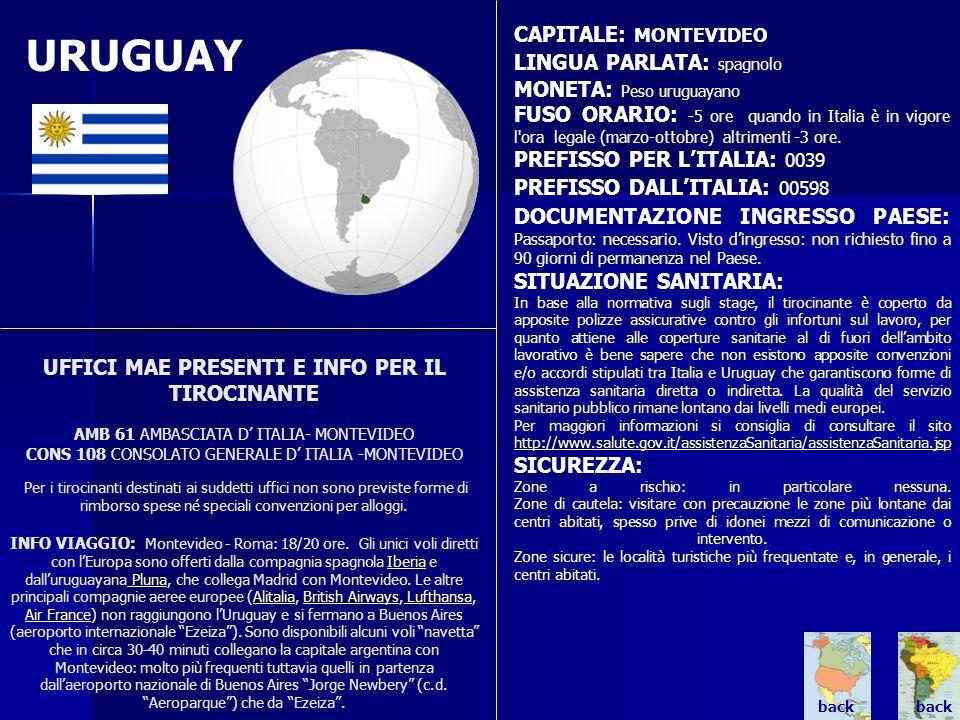URUGUAY UFFICI MAE PRESENTI E INFO PER IL TIROCINANTE AMB 61 AMBASCIATA D ITALIA- MONTEVIDEO CONS 108 CONSOLATO GENERALE D ITALIA -MONTEVIDEO Per i ti