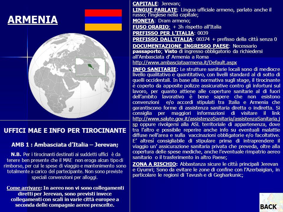 CAPITALE: Jerevan; LINGUE PARLATE: Lingua ufficiale armeno, parlato anche il russo; linglese nella capitale; MONETA: Dram armeno; FUSO ORARIO: + 3h ri