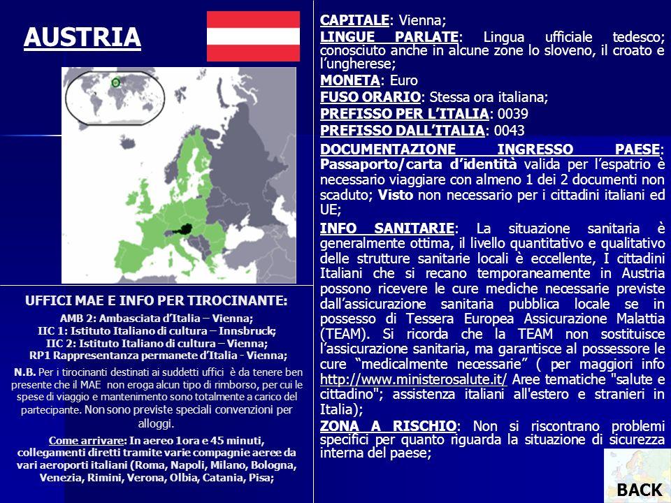 UFFICI MAE E INFO PER TIROCINANTE: AMB 2: Ambasciata dItalia – Vienna; IIC 1: Istituto Italiano di cultura – Innsbruck; IIC 2: Istituto Italiano di cu