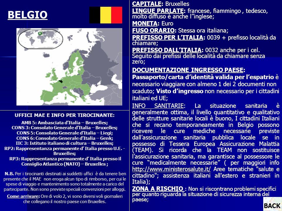 UFFICI MAE E INFO PER TIROCINANTE: AMB 5: Ambasciata dItalia – Bruxelles; CONS 3: Consolato Generale dItalia – Bruxelles; CONS 5: Consolato Generale d