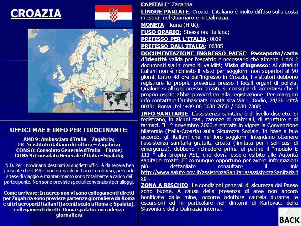 UFFICI MAE E INFO PER TIROCINANTE: AMB 9: Ambasciata dItalia – Zagabria; IIC 5: istituto italiano di cultura – Zagabria; CONS 8: Consolato Generale dI