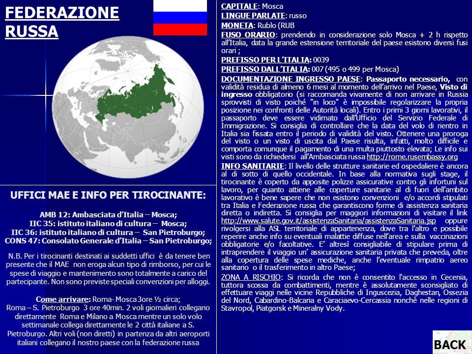 UFFICI MAE E INFO PER TIROCINANTE: AMB 12: Ambasciata dItalia – Mosca; IIC 35: istituto italiano di cultura – Mosca; IIC 36: istituto italiano di cult