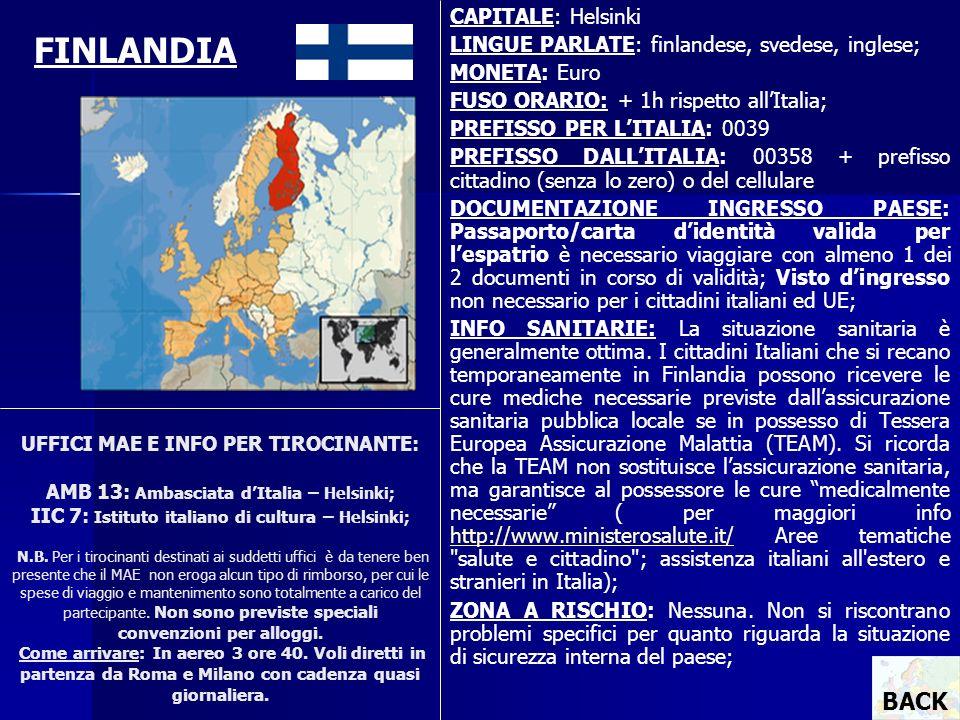 UFFICI MAE E INFO PER TIROCINANTE: AMB 13: Ambasciata dItalia – Helsinki; IIC 7: Istituto italiano di cultura – Helsinki; N.B. Per i tirocinanti desti