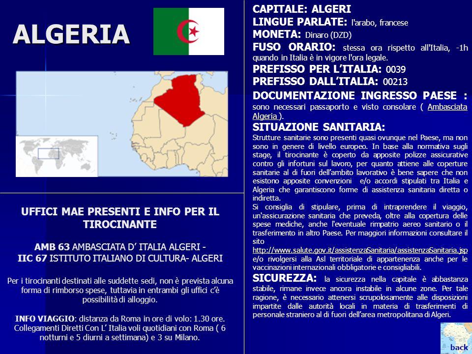 ALGERIA UFFICI MAE PRESENTI E INFO PER IL TIROCINANTE AMB 63 AMBASCIATA D ITALIA ALGERI - IIC 67 ISTITUTO ITALIANO DI CULTURA- ALGERI Per i tirocinant