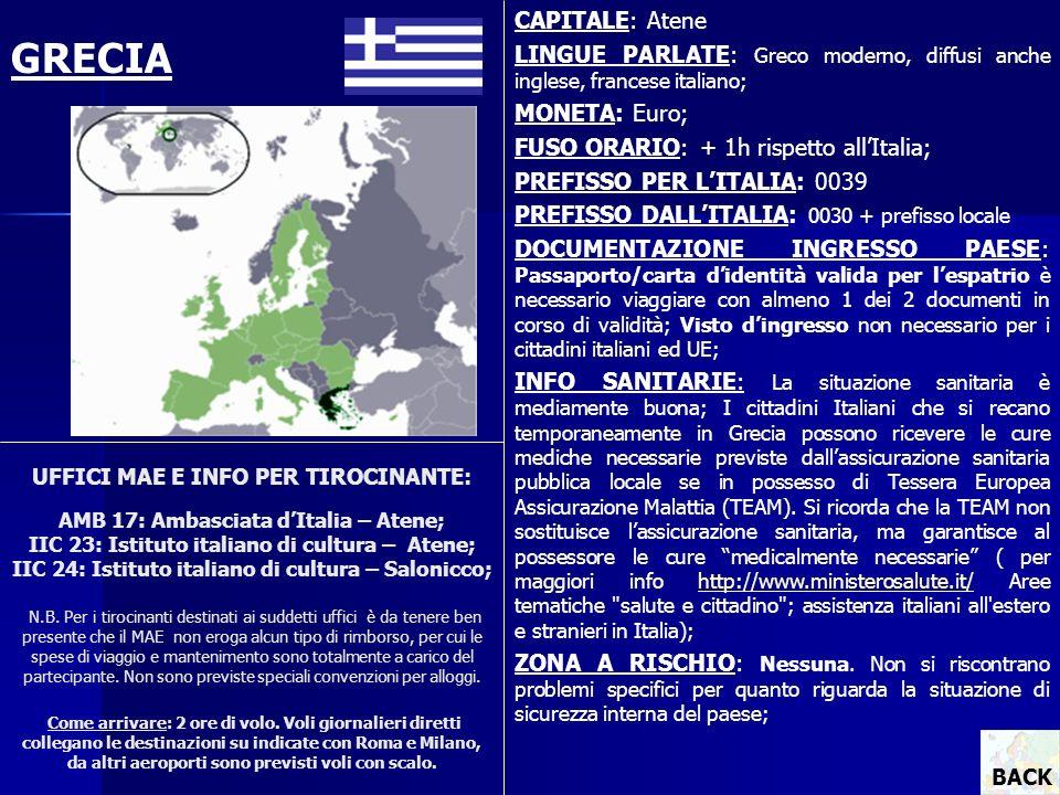 UFFICI MAE E INFO PER TIROCINANTE: AMB 17: Ambasciata dItalia – Atene; IIC 23: Istituto italiano di cultura – Atene; IIC 24: Istituto italiano di cult