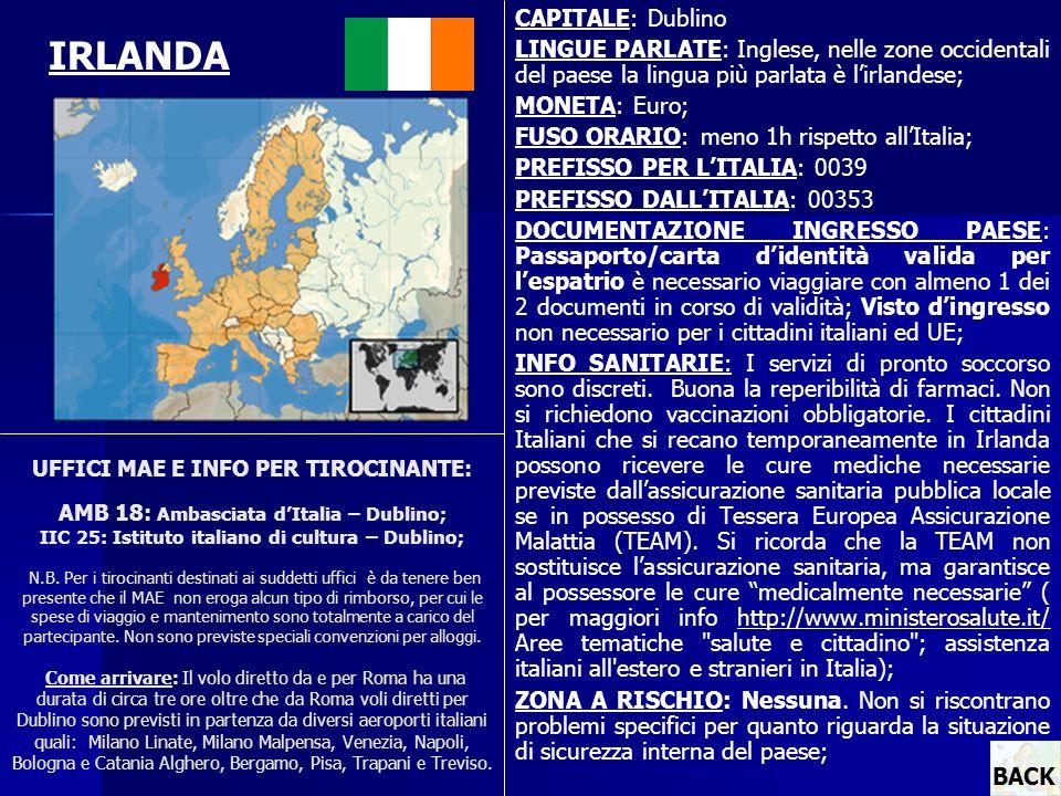 UFFICI MAE E INFO PER TIROCINANTE: AMB 18: Ambasciata dItalia – Dublino; IIC 25: Istituto italiano di cultura – Dublino; N.B. Per i tirocinanti destin