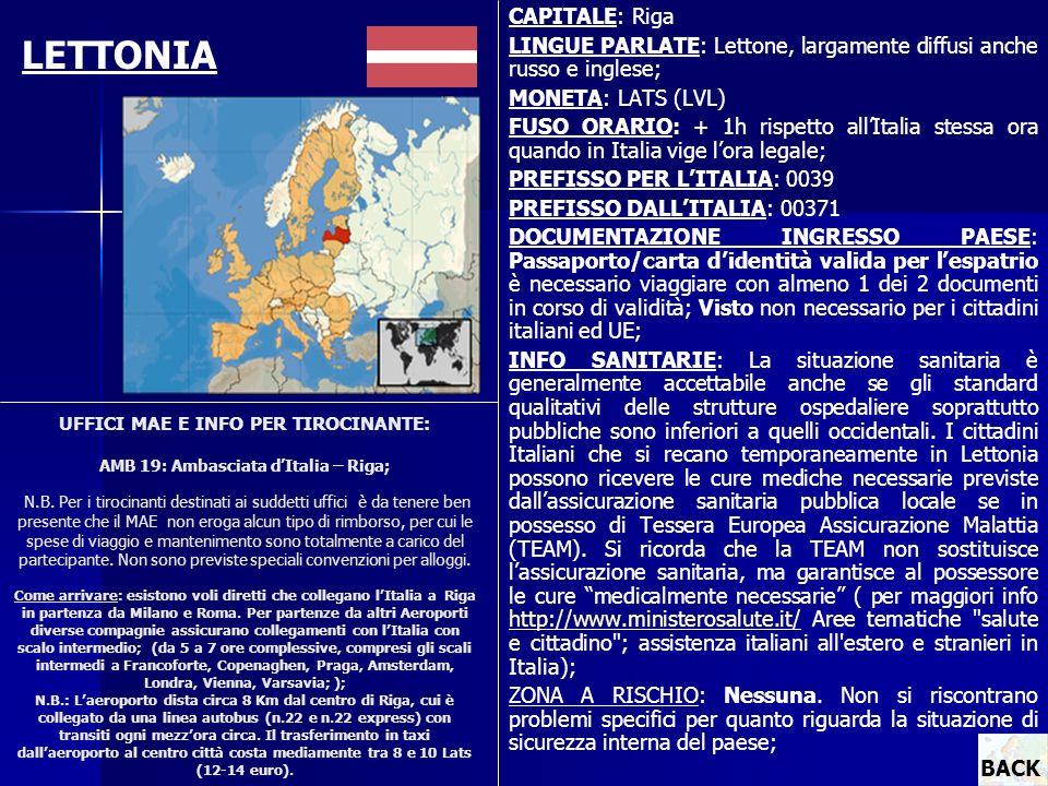 UFFICI MAE E INFO PER TIROCINANTE: AMB 19: Ambasciata dItalia – Riga; N.B. Per i tirocinanti destinati ai suddetti uffici è da tenere ben presente che