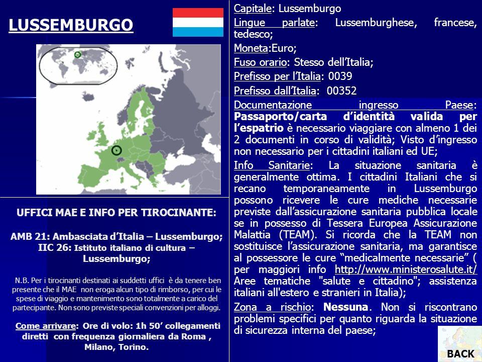 UFFICI MAE E INFO PER TIROCINANTE: AMB 21: Ambasciata dItalia – Lussemburgo; IIC 26: Istituto italiano di cultura – Lussemburgo; N.B. Per i tirocinant