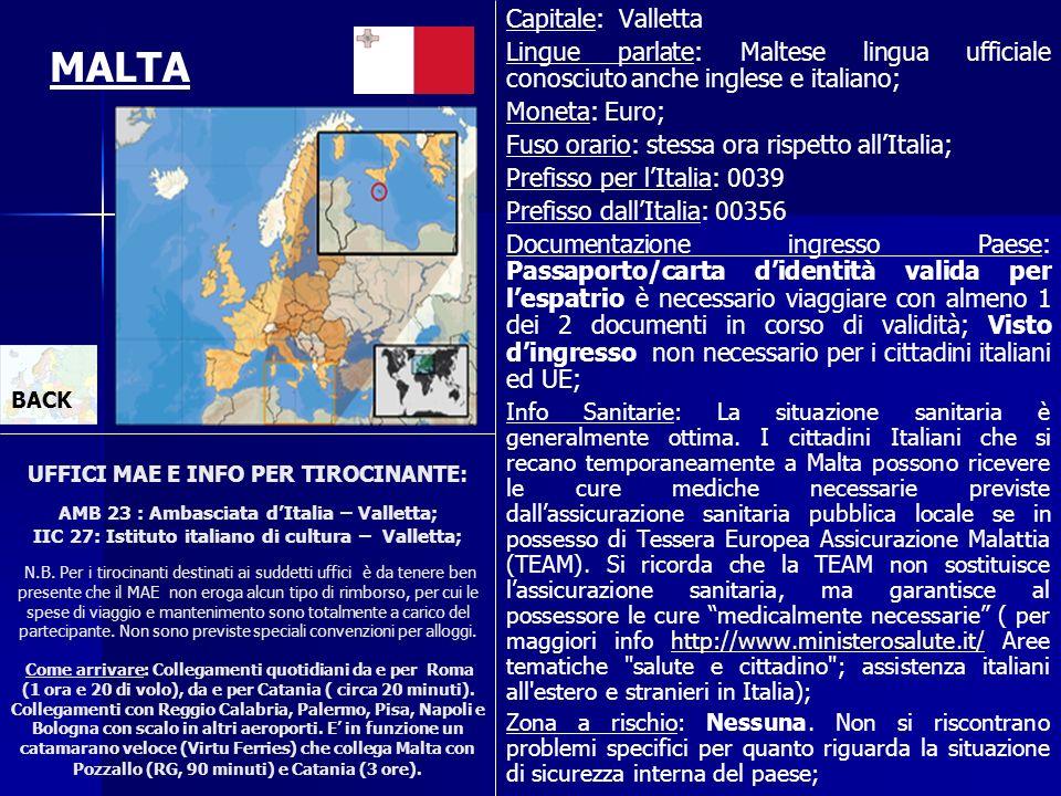 UFFICI MAE E INFO PER TIROCINANTE: AMB 23 : Ambasciata dItalia – Valletta; IIC 27: Istituto italiano di cultura – Valletta; N.B. Per i tirocinanti des
