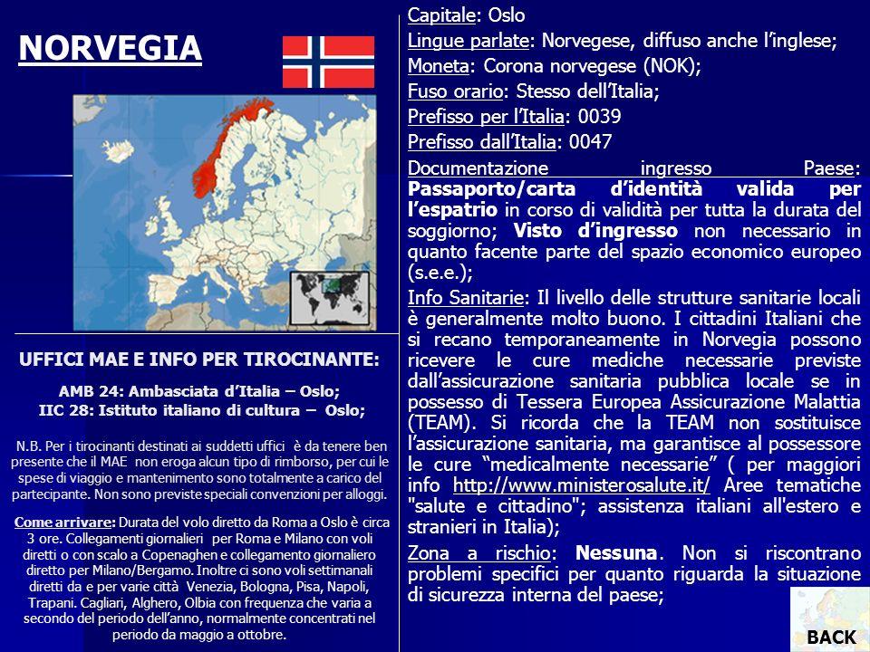 UFFICI MAE E INFO PER TIROCINANTE: AMB 24: Ambasciata dItalia – Oslo; IIC 28: Istituto italiano di cultura – Oslo; N.B. Per i tirocinanti destinati ai