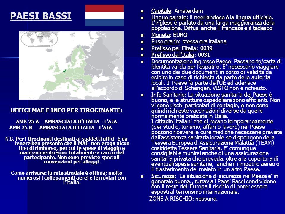 PAESI BASSI UFFICI MAE E INFO PER TIROCINANTE: AMB 25 A AMBASCIATA D'ITALIA - L'AJA AMB 25 B AMBASCIATA D'ITALIA - L'AJA N.B. Per i tirocinanti destin