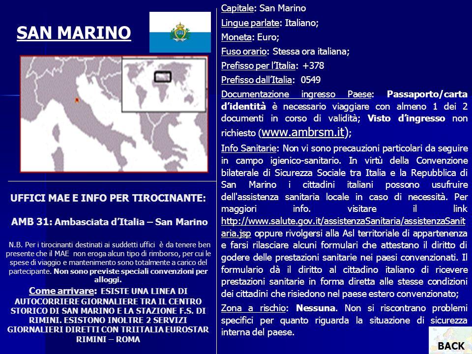 UFFICI MAE E INFO PER TIROCINANTE: AMB 31 : Ambasciata dItalia – San Marino N.B. Per i tirocinanti destinati ai suddetti uffici è da tenere ben presen